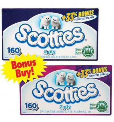 Scotties 2-Ply Facial Tissues, 160-ct. Bonus Boxes