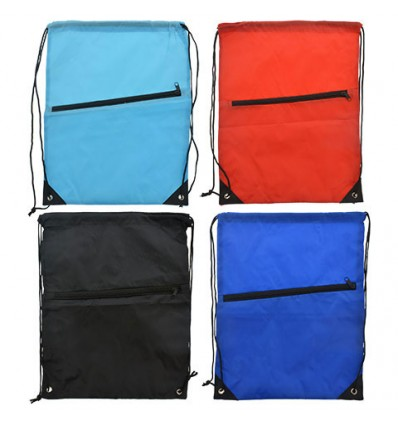 Lightweight Drawstring Backpacks with Zippered Pocket