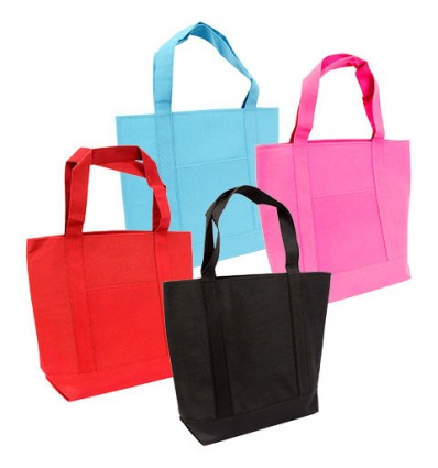 Large Solid-Color Polyester Tote Bags