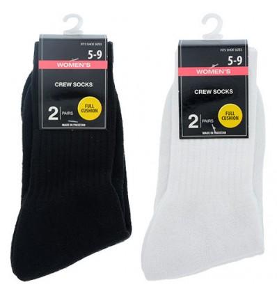 Ladies' Black and White Crew Socks, 2-ct. Packs