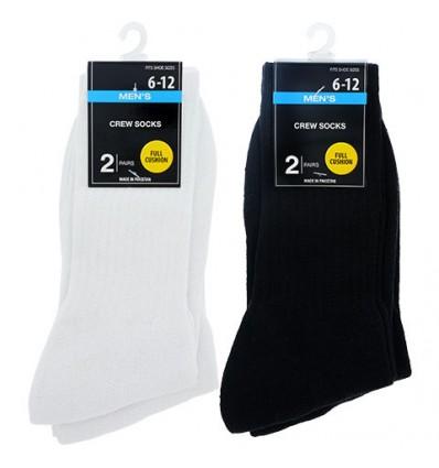 Men's Size 6-12 Full Cushion Crew Socks, 2-Pair Packs