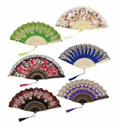 Brightly-Colored Foldable Fans with Glitter Accents, 17 in.