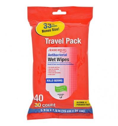 Assured Antibacterial Wet Wipes, 40-ct. Travel Packs
