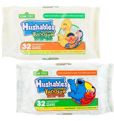 Sesame Street Hushables Flushable Toddler Wipes