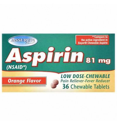 Assured Low Dose Orange Flavor Chewable Aspirin Tablets 36 Ct Bottles Kilimanjaro Distributors