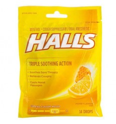 da7303f2d33 HALLS Honey-Lemon Menthol Cough Drops, 16-ct.