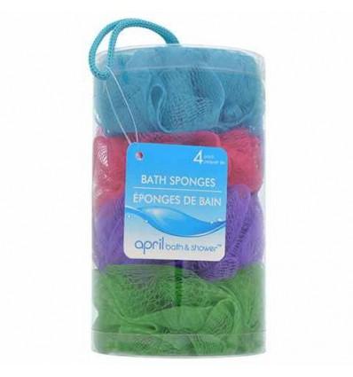 April Bath & Shower Mesh Bath Sponges, 4-ct. Packs