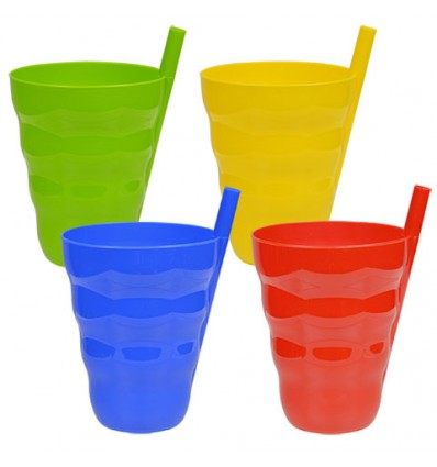 Colorful Plastic Tumblers with Built-In Straws