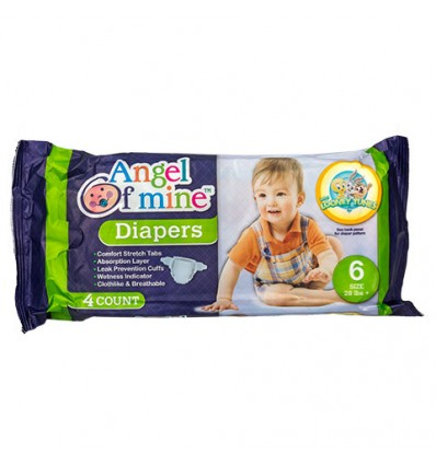 Size 6 Disposable Diapers with Cartoon Character Prints, 4-ct. Packs