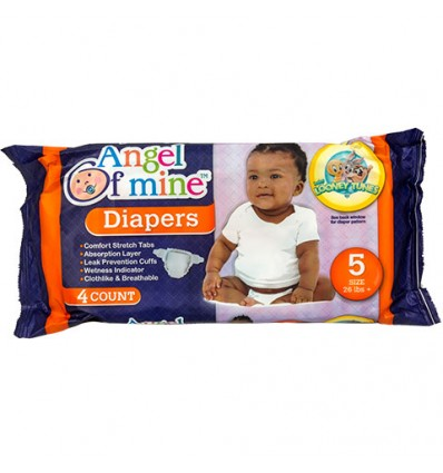Size 5 Disposable Diapers with Cartoon Characters, 4-ct. Packs