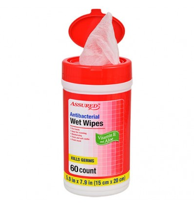 Assured Antibacterial Wet Wipes, 60-ct. Canisters