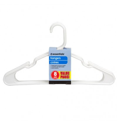 Essentials White Plastic Hangers, 8-ct. Packs