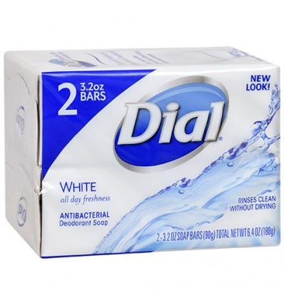 Dial White Antibacterial Deodorant Soap, 2-bar Packs