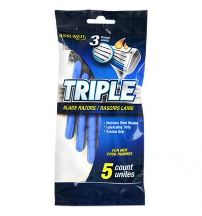 Assured Triple-Blade Razors for Men, 5-ct. Packs