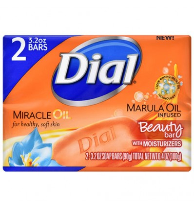 Dial Marula Infused Beauty Bar Moisturizing Soap, 2-Bar Packs