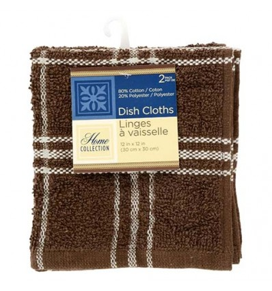 Home Collection Chocolate-Brown Plaid Dish Cloths, 2-ct. packs