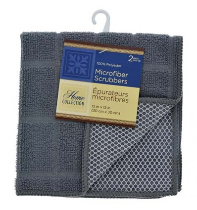 Home Collection Gray Windowpane Pattern Microfiber Scrubbers, 2-ct. Packs